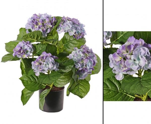 Hortensien Kunstblume mit 5 blaufarbig Blüten Höhe 42cm