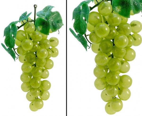 Deko Obst mit 51 grüne Trauben mit Blätter, Länge 20cm