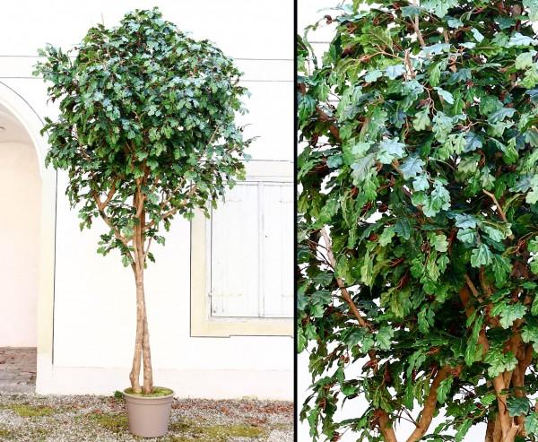 Kunstlaubbaum Eiche XL 300cm mit 2870 Textilfaser Blätter und Naturstämmen