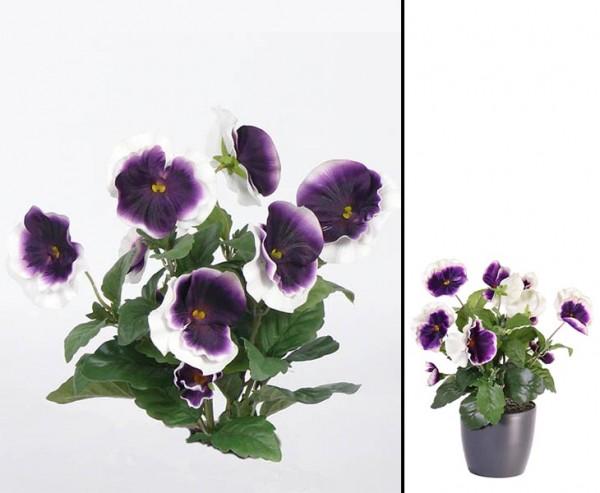 Künstlicher Stiefmütterchen Busch mit 9 weiß lila farbigen Blüten mit ca. 33cm
