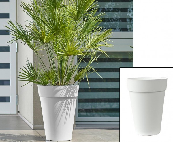 Weißes Pflanzgefäß 36cm hoch mit Ø 27cm wunderschön und günstig für Bepflanzungen
