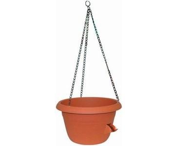 Blumenampel, mit Dochtbewässerung, Metallkette, A1 Durch. 35cm, A2 Durch. 23cm, Höhe ca. 22cm, Terra