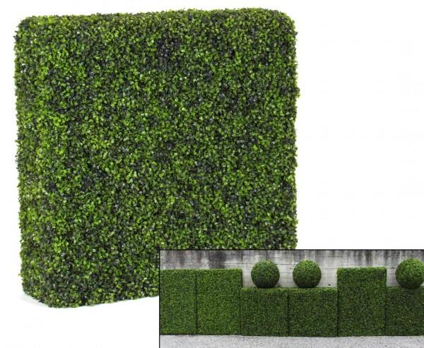 Künstliche Buchshecke mit 80x98x22cm und UV beständigen Blättern