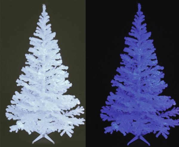 Tannenbaum glitzerweiß und UV aktiv mit 1114 Nadeln inkl.Ständer 240cm hoch