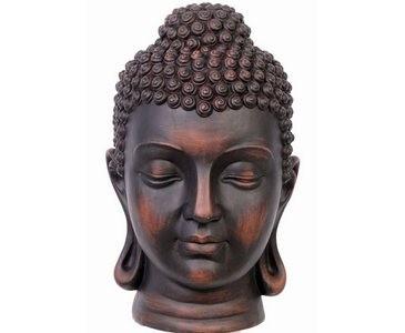 Buddha Kopf, mit 39x20x20cm, braun aus Polyresin Material