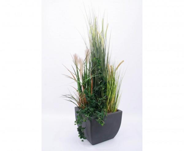 Kunstpflanzen Arrangement Gras mit Efeu im Übertopf Höhe ca. 150cm