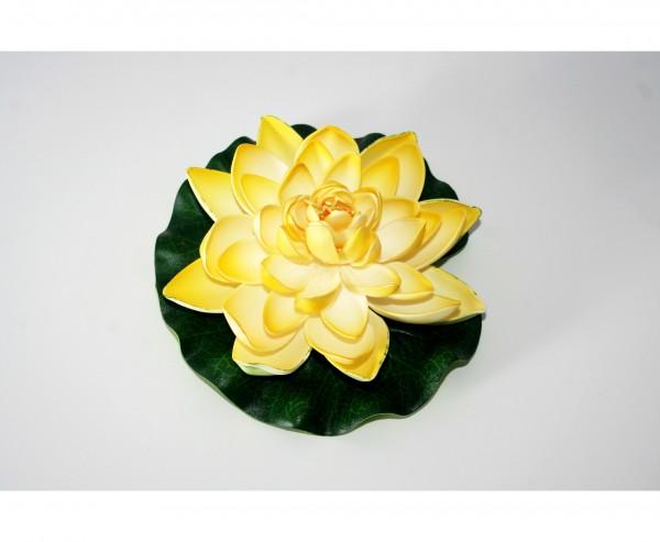 Kunstblume Seerose mit gelb weißen Blättern Durch. 17,5cm