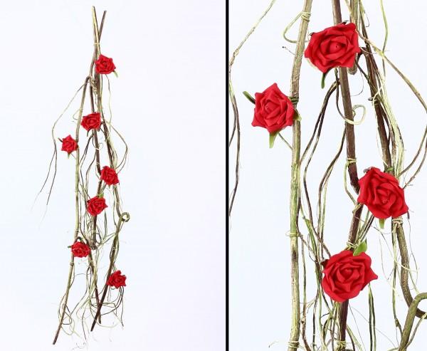 Künstliche Rosengirlande mit 7 roten Blüten 140cm lang