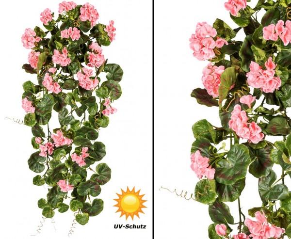 Geranienhänger mit 17 rosa farbigen Blüten 80cm, UV- Beständig