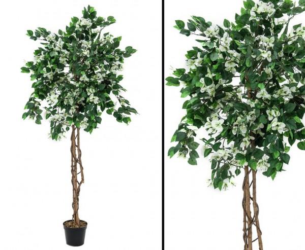 Künstlicher Bougainvillea Baum mit weißen Blüten Höhe 150cm mit Zementfuß
