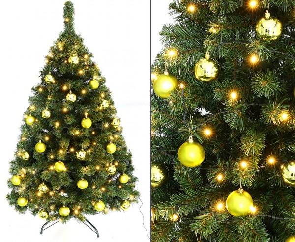 """Christbaum """"Maria"""" mit 24 lime farbigen Kugeln und Beleuchtung Höhe 150cm"""