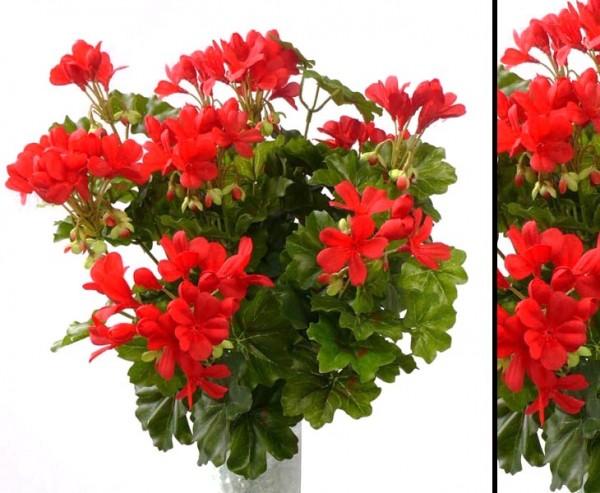 Geranien Kunstblume mit 116 rote Blüten, Höhe und Durch. ca. 40cm