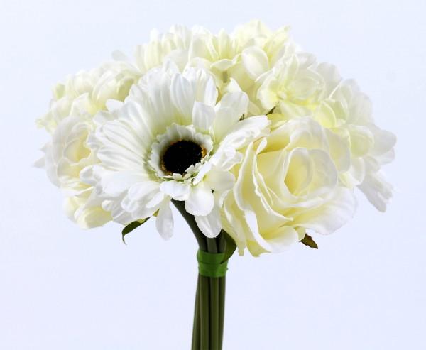 """Mixbouquet """"Mia"""" mit 10 creme farbigen Blüten, Druchmesser 20cm"""
