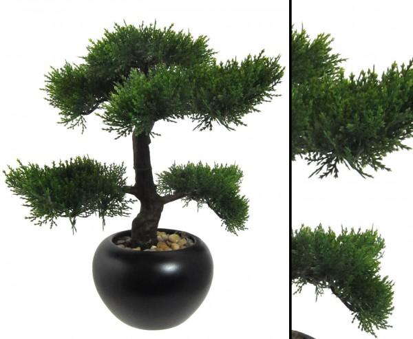Kunstbaum Tisch Bonsai Zeder mit 37cm in schwarzen Keramiktopf