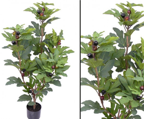 Feigenstrauch Kunstpflanze mit 74 Blätter und 25 Feigen 115cm