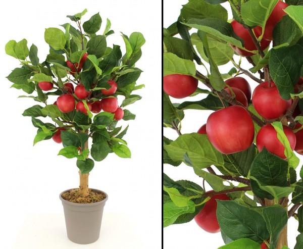 Künstlicher Apfelbaum 100cm mit 19 roten Äpfeln in Premium Qualität