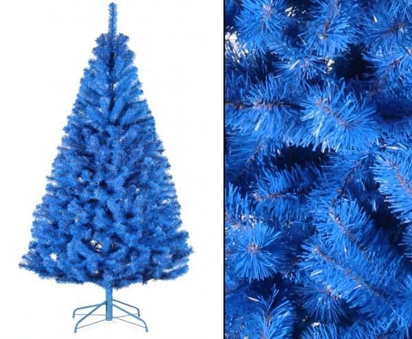 Künstlicher farbiger Tannenbaum blau 180cm mit PVC Nadeln schwer entflammbar