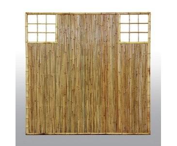 """Sichtschutzwand aus Bambus, mit Gitter Ausschnitt oben rechts und links, """"TEN""""  180 x 90cm"""