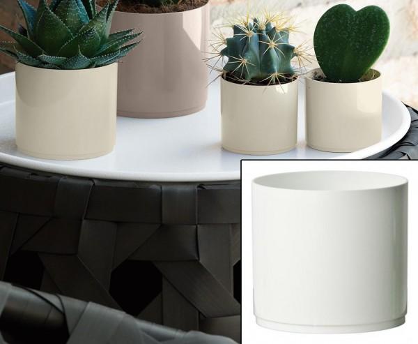 Kleines Vasengefäß für Blumen und Kakteen weiß mit H:10cm und Ø11cm aus PP