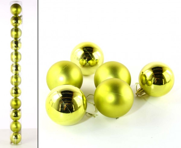 Christbaumkugeln Set aus Kunststoff in lime-grün mit 6cm matt und glänzend