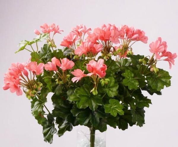 Geranien Kunstblume mit 116 rosa farbigen Blüten, Höhe und Durch. ca. 40cm