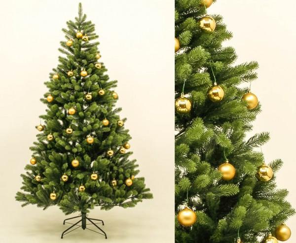 Künstlicher Tannenbaum mit goldenen Kugeln Spritzguss Nadeln B1 180cm hoch