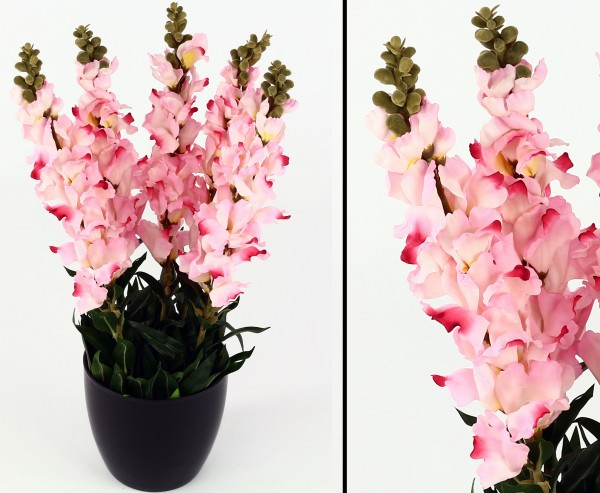 Kunstblume Löwenmäulchen mit rosa Blüten im Topf 64cm