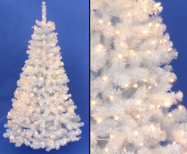 Weißer Tannenbaum 150cm Georgia mit 96 LED Lampen 344 Zweispitzen mit PVC Nadeln