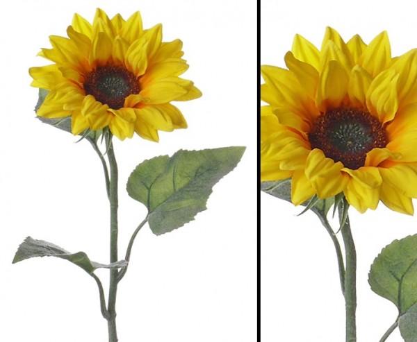 Sonnenblume künstlich mit 3 Blätter, 81cm hoch