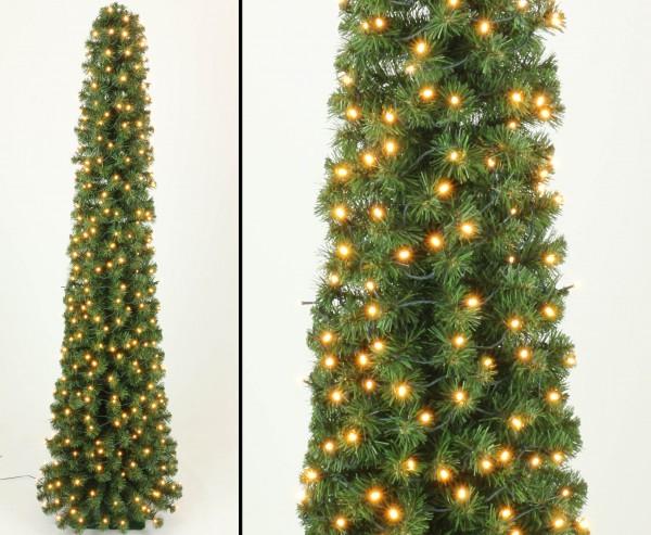 Künstliche Tannenbaum Säule Kasan 210cm mit 288 LEDs mit grünen PVC Nadeln B1