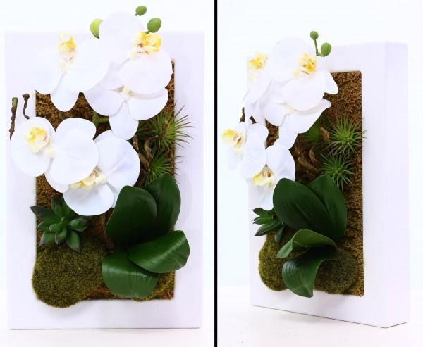 Orchideen Kunstblumen mit weißen Blüten im Metallrahmen 30x20cm