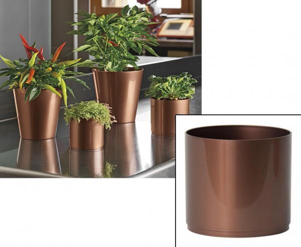Vasengefäß für Pflänzchen und Kakteen Kupfer farbig mit H:10cm und Ø11cm aus PP