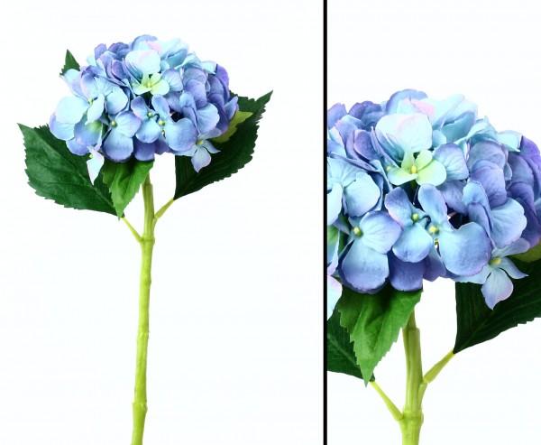Kunstblume Hortensie mit blau-violetter Blüte Ø 15cm wasserfesten Stiel Länge 50cm