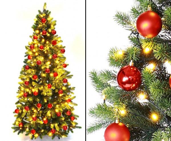 Künstlicher Tannenbaum mit Spritzguss Nadeln LED Beleuchtung und roten Kugeln 180cm