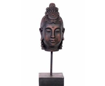 Buddha Kopf braun, aus Polyresin Material, Höhe 41cm
