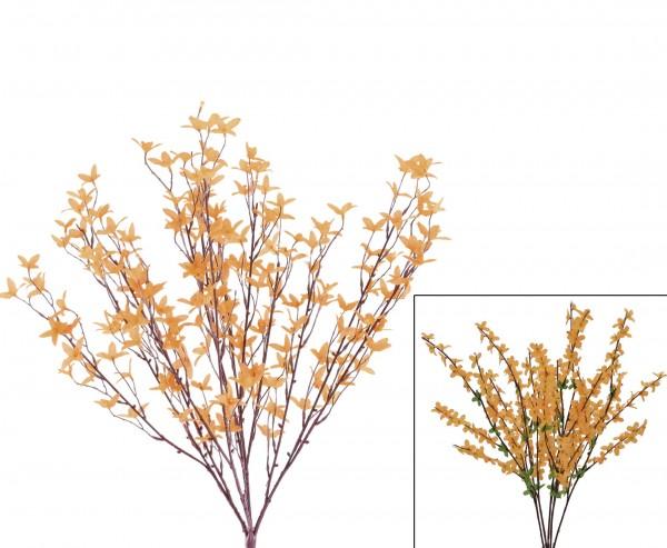 Forsythie Kunstpflanzen Busch mit gelblich orangen Blüten 60cm