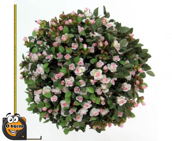 Rosenball Kunstpflanze mit kleinen rosa- weißen Blüten Durch. 65cm Kern aus EPS Material