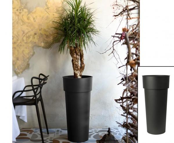 Hohe runde Pflanzensäule 80cm Anthrazit farbig mit einem Ø38cm und herausnehmbaren Innentopf