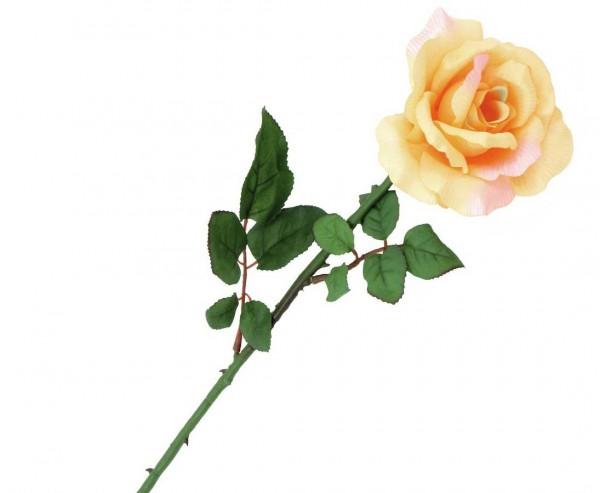 Rose künstliche Blume langstielig, cremfarben Blüte, Länge 65cm