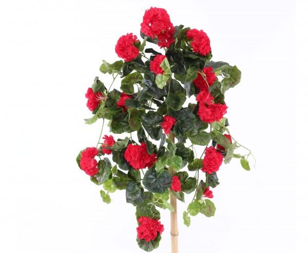 Kunstblume Geranie hängend mit 22 roten Blüten und 128 Blätter, 70cm