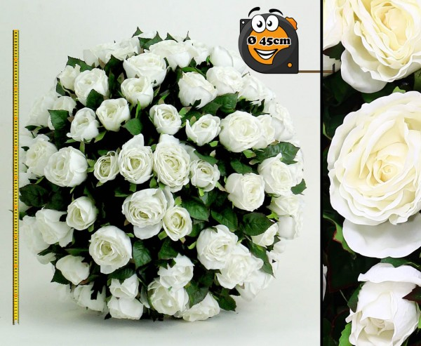 Künstlicher Rosenball mit weißen Blüten Durch. 45cm, Kern aus EPS