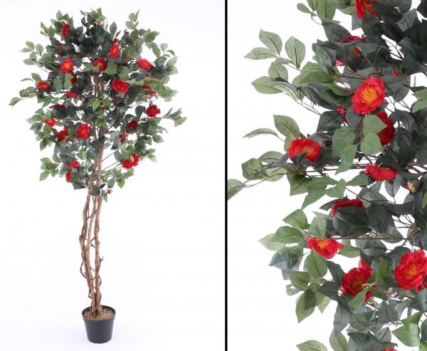 Kamelien Kunstbaum mit roten 111 roten Blüten 180cm