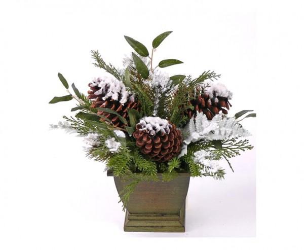 Weihnachten Tischdeko, Zapfen Arrangement mit Schnee, Höhe ca. 35cm