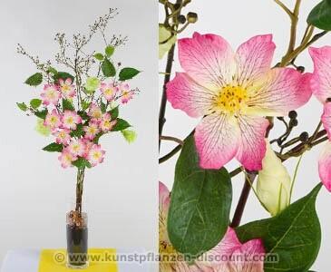 Kunstblumen Gestck Clematis rosa, Höhe 95cm