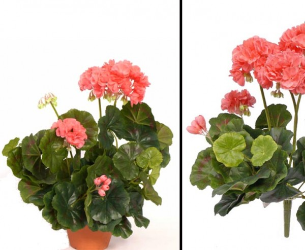 Geranien, Kunstblume rose, Höhe ca. 30cm, ohne Topf