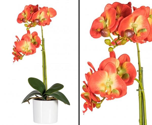 Kunstblume Orchidee im Topf mit 2 rötlich orange farbigen Blütenköpfen mit 45cm