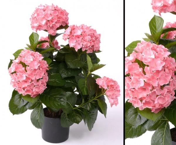 Hortensie Kunst Blume mit rose farbigen Blüten, Höhe 55cm