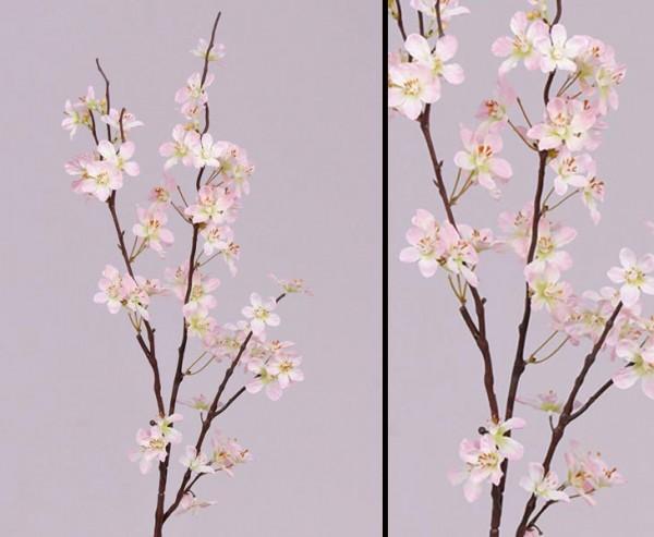 Apfelblütenzweig mit 3 Deko Äste und rose farbigen Blüten, 84cm