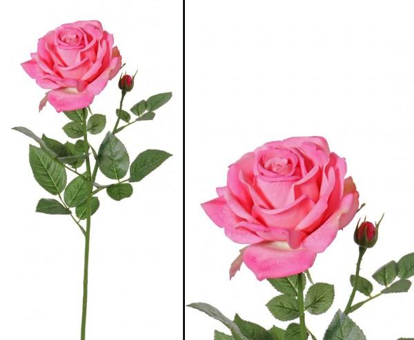 Rose künstlich rosa farbige Blüte Durch. 12cm Länge 70cm Alice de luxe