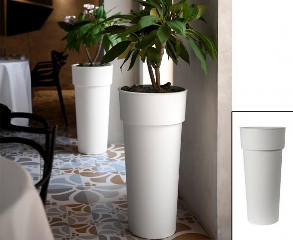 Hohe runde Pflanzsäule 80cm Weiß farbig mit einem Ø38cm und herausnehmbaren Innentopf